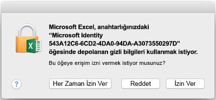 Office Mac 2016 anahtarlık istemi