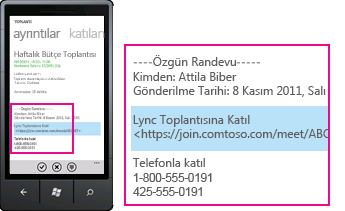 Mobil istemci için Lync'te Lync Toplantısına Katıl isteğini gösteren ekran görüntüsü