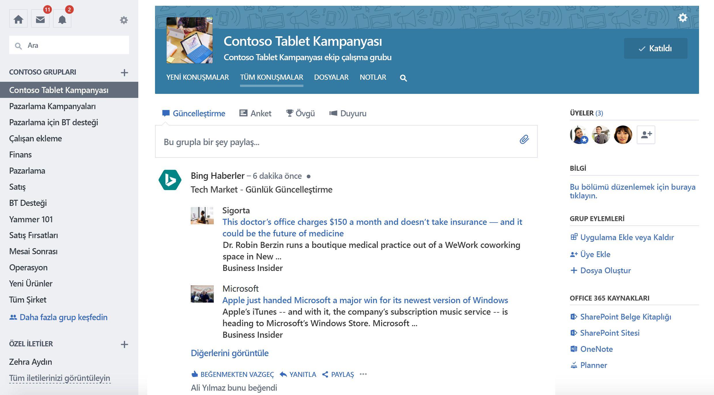 Üçüncü taraf hizmetinden grubun güncelleştirmesinin ekran görüntüsü