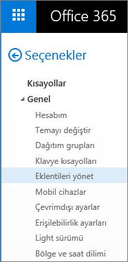 """Outlook'taki Seçenekler menüsünde Genel bölümünün """"Eklentileri Yönet"""" seçeneğinin vurgulandığı şekilde ekran görüntüsü."""