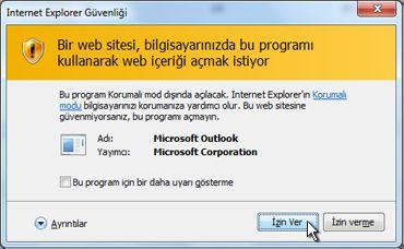 Internet Explorer güvenlik iletişim kutusu