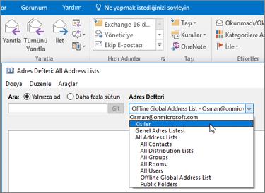 İçeri aktardığınız Gmail kişilerinizi Office 365'te bulmak için Adres Defteri'nde arama yapabilirsiniz