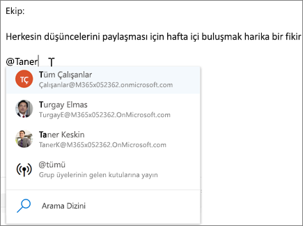 Web üzerinde Outlook'ta @bahsetmeler