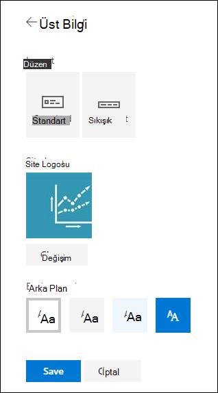 SharePoint sitesi üstbilgi düzenleri