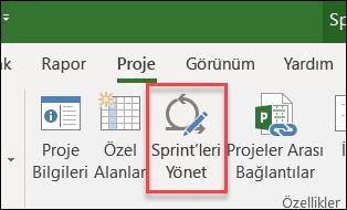 Sprint 'leri Yönet düğmesi
