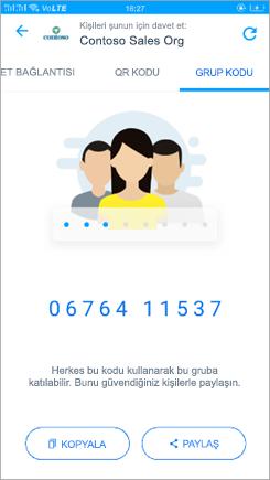 Kaizala 'de grup kodu sayfasının ekran görüntüsü