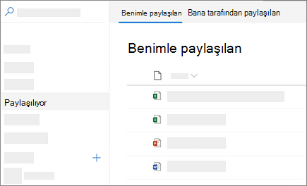 Web üzerinde OneDrive Iş 'te benimle paylaşılan görünümüyle ilgili ekran görüntüsü