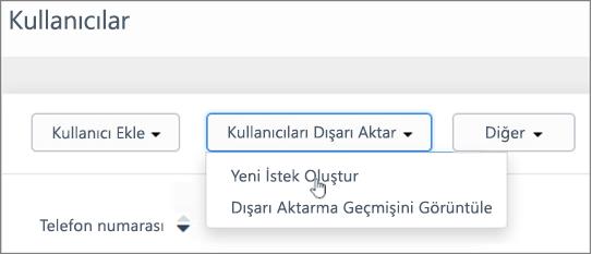 Ekran görüntüsü: Kaizala kullanıcıları dışarı aktarmak için yeni isteği oluşturma