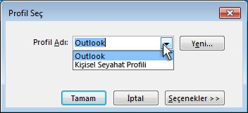 outlook profil seçimi iletişim kutusu