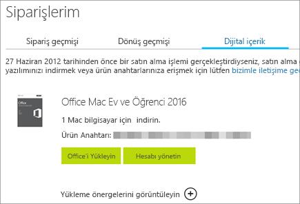 Office'in dijital sipariş bilgilerini, ürün anahtarını, Office'i yükleme düğmelerini ve Microsoft hesabınızı yönetmeyi gösterir.