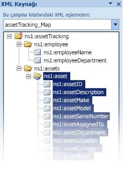 infopath şema dosyasını excel'e eşleme