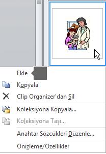 Resim eklemek için bir küçük resme sağ tıklayın ve Ekle'yi seçin.