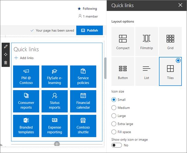 SharePoint Online 'da modern ekip sitesi için örnek hızlı bağlantılar Web Bölümü girişi