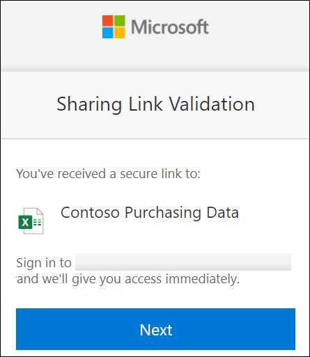 Oturum açmak için OneDrive dış paylaşım bağlantısı doğrulaması.