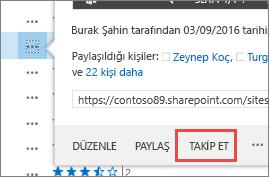 OneDrive İş'teki vurgulama kartı menüsünde Takip Et komutunu seçin.