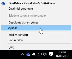 OneDrive simgesi için sağ tıklama menüsü.