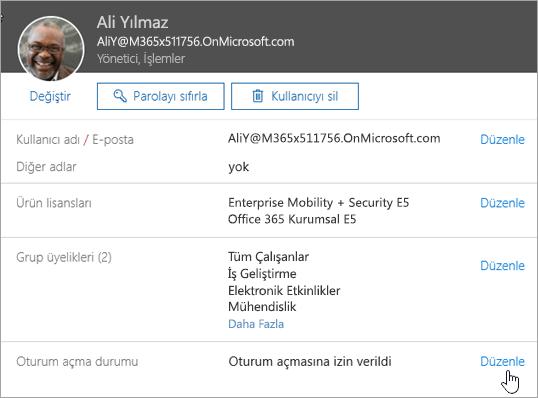 Office 365'te bir kullanıcının oturum açma durumunu gösteren ekran görüntüsü