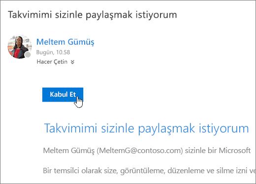 Paylaşılan takvim davetini gösteren ekran görüntüsü