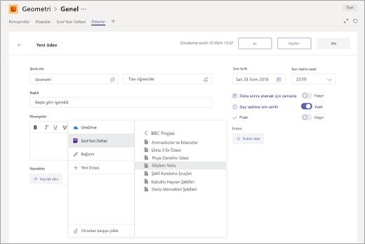 Microsoft Teams'deki bir ödeve eklemek için OneNote Sınıf Not Defteri sayfası seçme