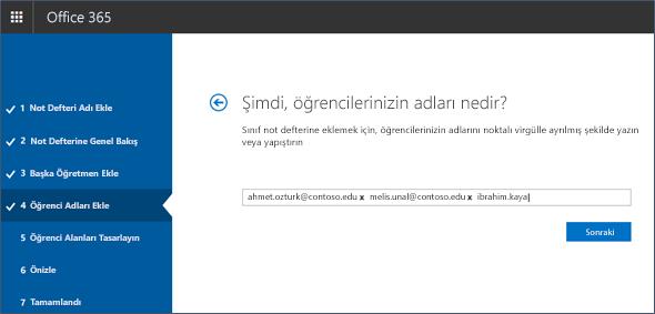 Not Defteri Oluşturucu'ya öğrenci adlarını ekleme ekran görüntüsü.