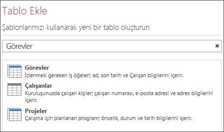 Access Hoş Geldiniz ekranında tablo şablonu arama kutusu.