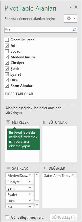 PivotTable Alanları bölmesindeki Filtreler alanı