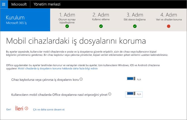 Mobil cihazlarınızdaki iş dosyalarını koruma bölümünün ekran görüntüsü
