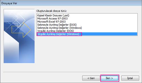 .csv dosyasına aktar'ı (Windows) seçin.