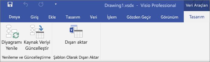 Veri Görselleştiricisi şerit seçenekleri Oluştur, Yenile ve Dışarı Aktar'ın vurgulandığı ekran görüntüsü