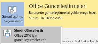 Office 2016 için en son sürümünü güncelleştirme seçenekleri ve sonra Şimdi Güncelleştir'i tıklatın.