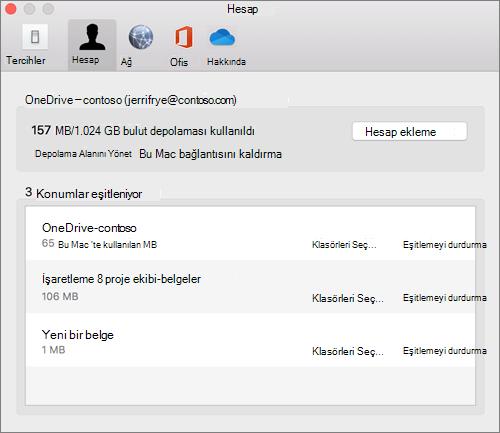Mac için OneDrive eşitleme istemcisinde Hesap sekmesinin ekran görüntüsü