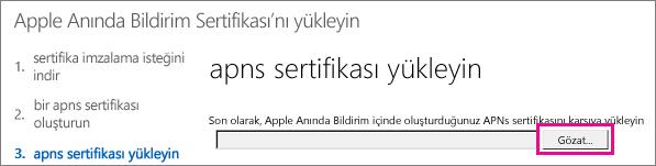 Apple Push Certificate Portal'da oluşturduğunuz sertifikayı yükleyin.