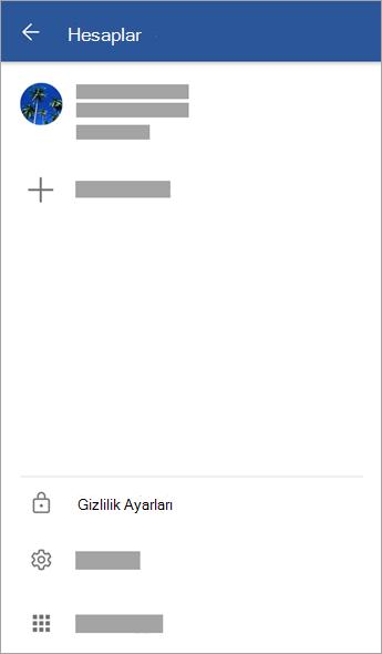 Hesaplar menüsünün ekran görüntüsü