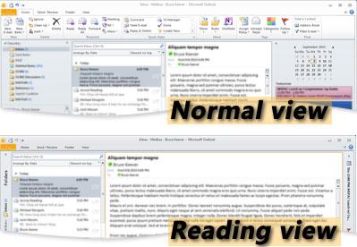 Outlook okuma ve Normal görünümlerinde örneği