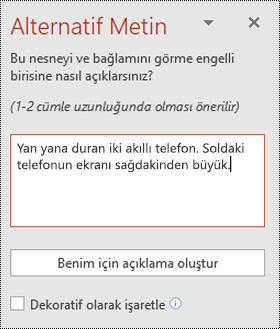 Windows için PowerPoint 'te alternatif metin bölmesi