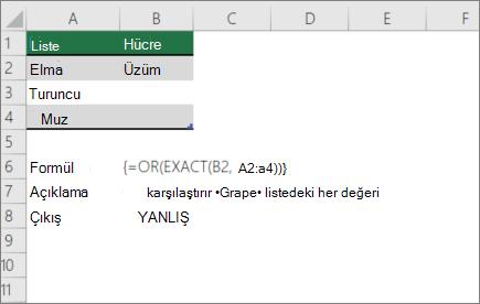 Bir değeri bir değer listesiyle karşılaştıran bir örnek veya tam işlevi