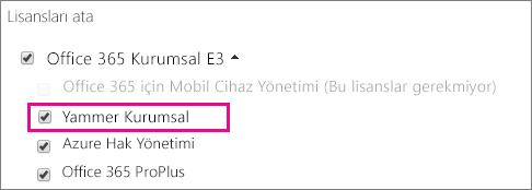 Atanabilecek Yammer Kurumsal lisansını içeren Office 365 yönetim merkezinin Lisans atama bölümünün ekran görüntüsü