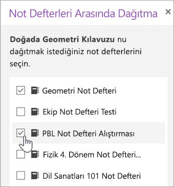 Çapraz Not defteri dağıtım seçimi penceresi