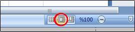 Durum çubuğundaki Sayfa Düzeni düğmesi