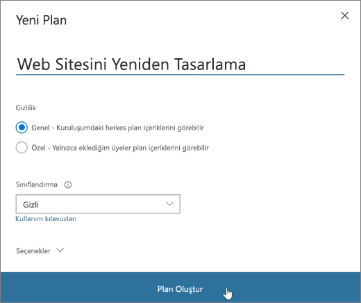 Yeni Plan penceresini gösteren ekran görüntüsü.