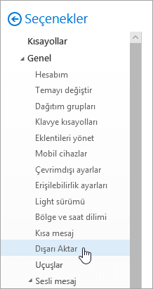 Seçili dışarı Seçenekleri menüsünün ekran görüntüsü