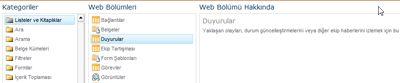 Web Bölümü seçici