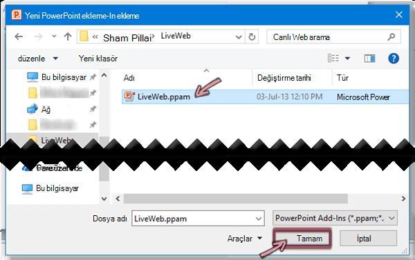 LiveWeb.ppam seçin ve sonra da Tamam'ı tıklatın.