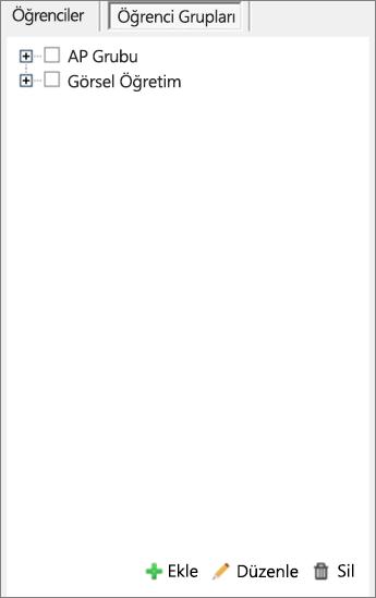Öğrenci Grupları'nın seçili olduğu Sayfaları Dağıt bölmesi.
