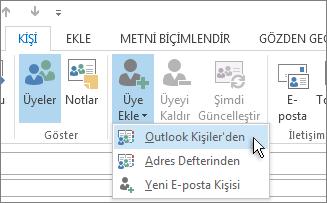 Outlook Kişilerinden Yeni Üye Ekle