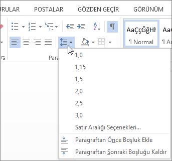Giriş sekmesinin sözcük, satır ve paragraf aralığı menüsü gösteren ekran görüntüsü