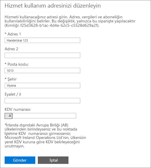 Hizmet kullanım adresi sayfanıza KDV ile Düzenle kutusunun altındaki sayı.