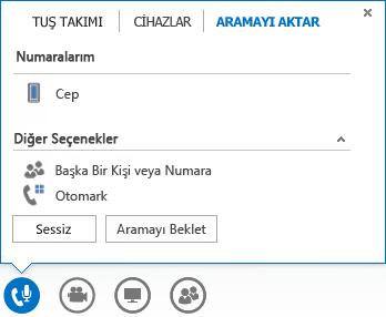 Arama aktarma menüsünün ekran görüntüsü