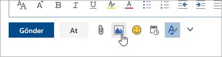 Satır içine resim ekle düğmesinin ekran görüntüsü