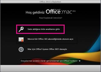 Mac için Office etkinleştirme ekranı